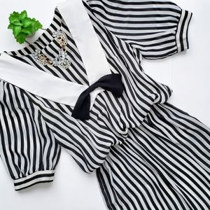 Vintage 80s Striped Sailor Secretary Dress